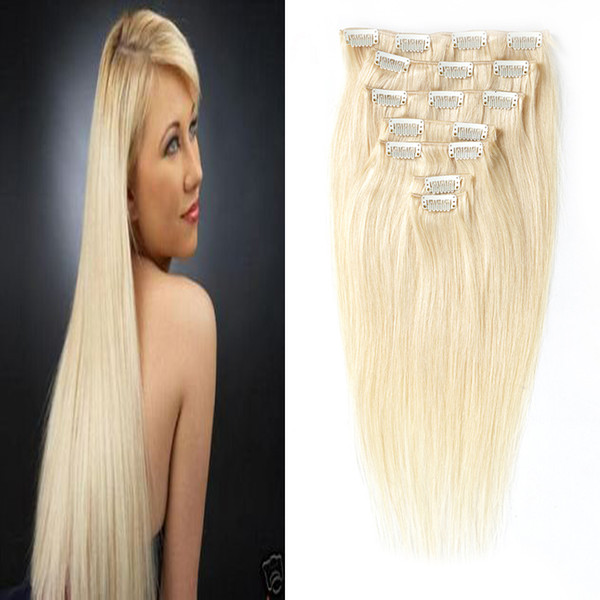 Clip in Remy Human Hair Extensions Full Head Straight 100g 7pcs/Set 4B 4C Double Drawn Nature Human Hair in clips