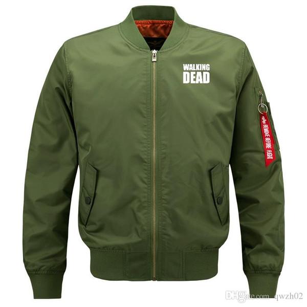 Walking dead Bomber Flight Flying Jacket Winter thicken Warm Zipper Men Jackets Anime Men's Casual Coat bw