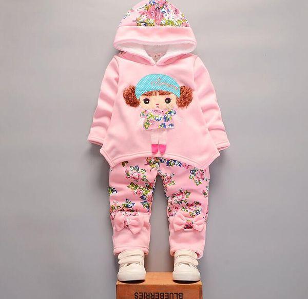 Mode Enfants filles ajouter coton ensembles de vêtements d'hiver bébé Hoodies Pantalons 2 Pcs / ensembles Toddler Warm vêtements enfants survêtements enfants en plein air