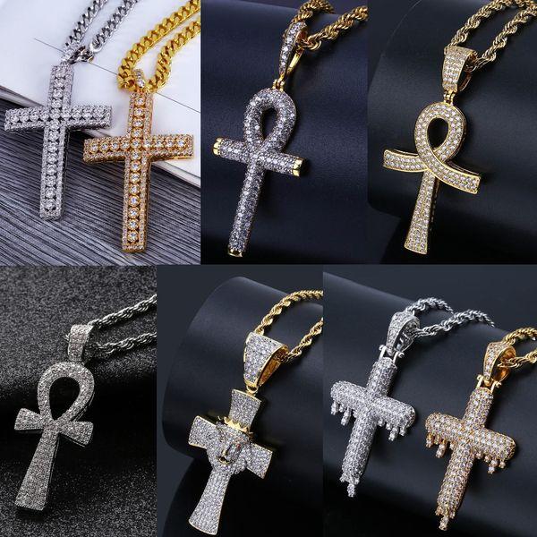 6 Estilos de Lujo Cubic Zirconia Hiphop Cruz Collares pendientes Para Los Hombres Bling Ice Out Hip Hop Joyería 18 K Collar Chapado En Oro