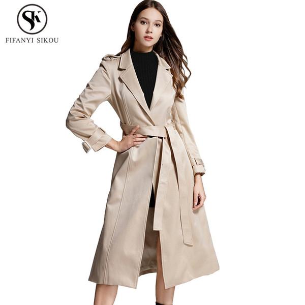 2018 Autumn New High end Trench coat women Fashion Turn-down Collar Slim Belt Long coat Female Casual Business Overcoat LGP738