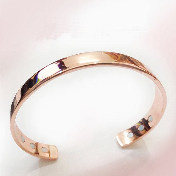 Pure Copper Magnet Energy Health Open Bangle Plated Gold Color Simple Bracelet Bio Healthy Healing Bracelet