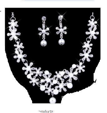 wonderful white diamond stone bride wedding jewelry set necklace earings eete