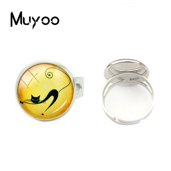 2018 New Adjustable Ring Cute Cats Rings Cats Photos Glass Silver Dome Hand Craft Rings Handmade Jewelry Gift for Women