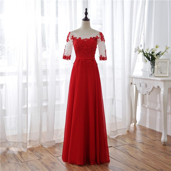 Jane Vini 2018 Modest Long Red Prom Dresses with Half Sleeves Beaded Lace Chiffon Ladies Evening Dress for Women Formal Wear Galajurken Lang