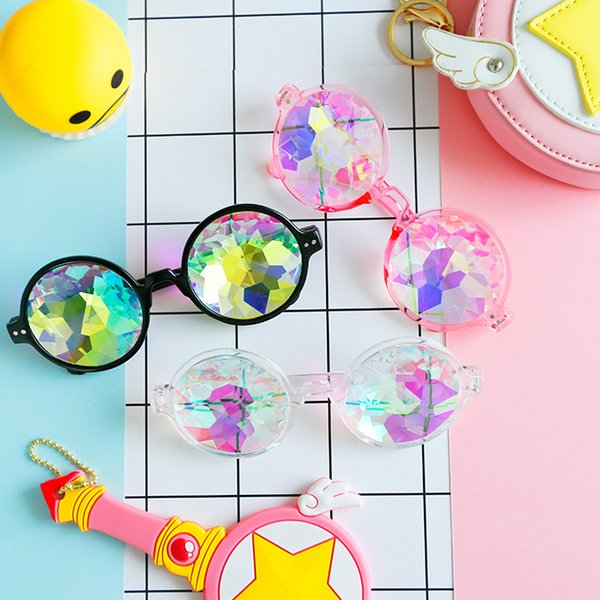 PVC Polygon Sunglasses Magic Fantasy Cool Geometric Kaleidoscope Spectacles For Women Make Up Decoration Eyeglass New Arrival 10mm B
