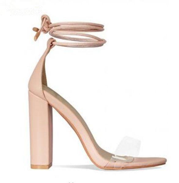 Correa 2018 Con Zapatos De Compre Tobillo Pvc Sandalias Rosa Transparente Cadena Tacón Sandanls Bombas Alto Mujer xQrCthds