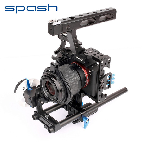 wholesale 15mm Rod Rig DSLR Camera Video Cage Kit Top Handle Grip Follow Focus for Sony A7SII A7R A7S A7 A7RII Panasonic GH4 GH3