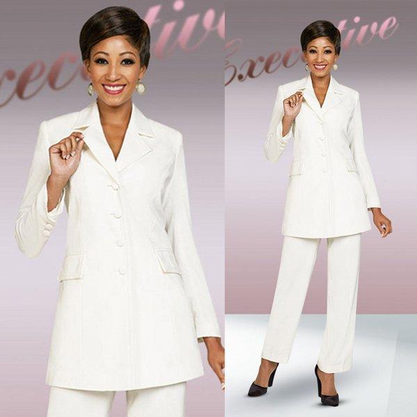 Elegant White Pants Suits For Mother Of The Bride V Neck long sleeve Wedding Guest Dress Ankle Length Mother of groom dress custom