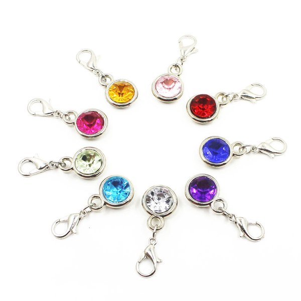 100pcs Mix random color crystal dangle charms CCB hanging lobster clasp charms for bracelet/pendant necklace diy jewelry