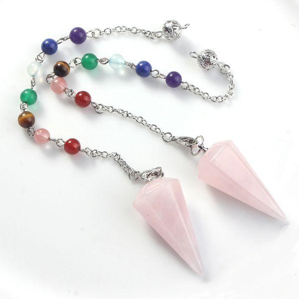 Pendentif de radiesthésie de chakra de guérison de chakra de pendule d'hexagone de quartz rose rose naturel avec la chaîne de 7 chakras