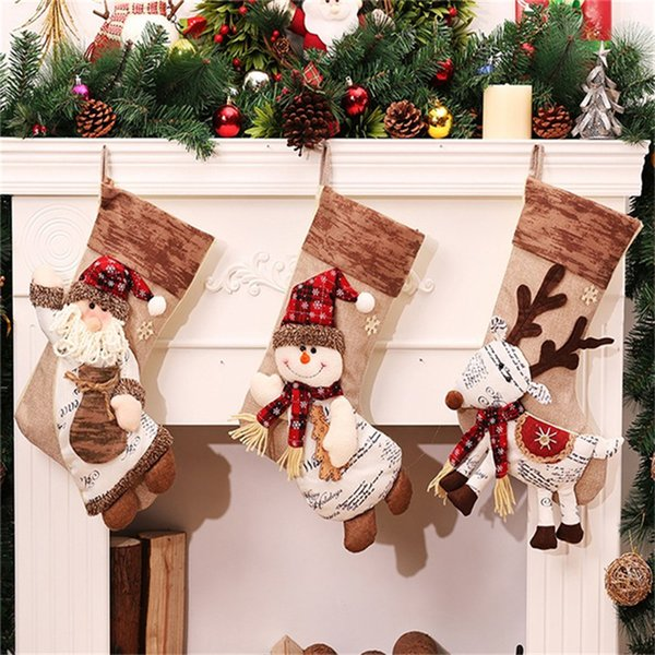Santa Claus 46cm Christmas Stockings Santa Sacks Christmas Bag Xmas Hanging Supplies Christmas Tree Decorations Natal Ornaments
