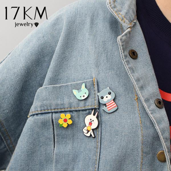 17KM 3 kinds Unicorn Cartoon Animal Brooch Pins Jewelry Set For Kids Flower Jacket Statement Jewelry Christmas Gift 4pcs/set