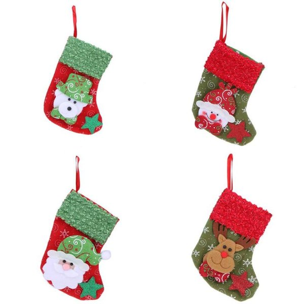 30pcs Christmas Stocking Santa Claus Candy Bag For Homes Party Decoration Gift Bags Storage Bag Christmas Tree Hanging Ornaments