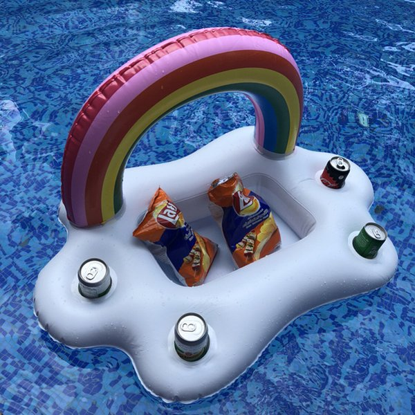 Rainbow Cloud Cup Holder Inflatable Mattress Ice Bucket Table Bar Tray Pool Party Beer Drink Float Swimming Party Fun Toy