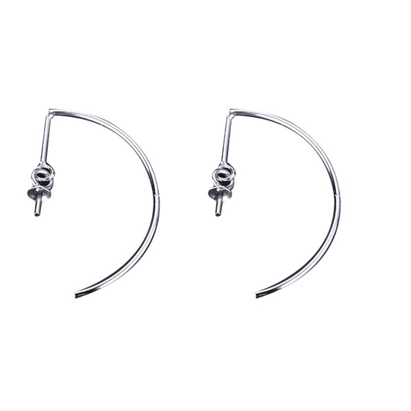 925 Sterling Silver 7-10mm Round Bead Pearl Earrings Setting White Gold Color Semi Mount Drop Earrings DIY Stone