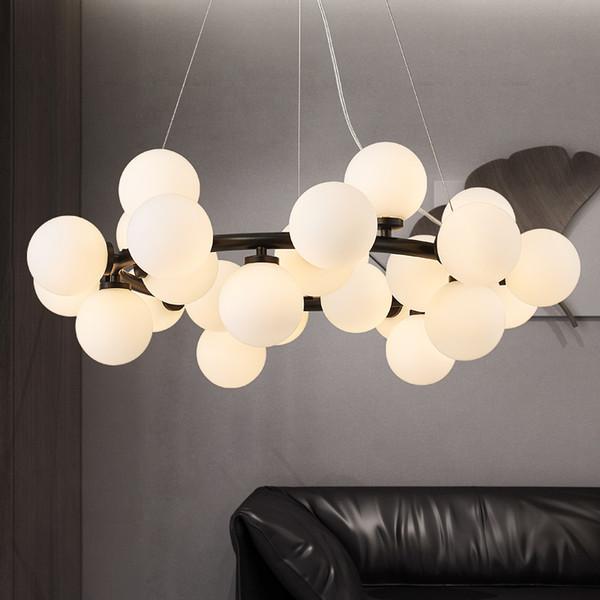 European annular Parlor modern black golden LED hanging lamp light living room foyer round glass ball balloon ring pendant light