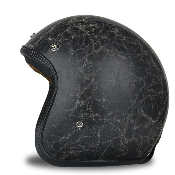 Adult Open Face Half Leather Harley Moto Motorcycle vintage Motorbike Vespa retro style casco scooter jet pilot Helmet