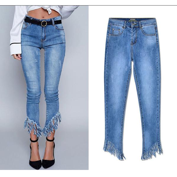 Vendita calda donna jeans denim alla caviglia femminile pantaloni irregolari Pantaloni moda vintage di marca esposti nappa strappato vita alta