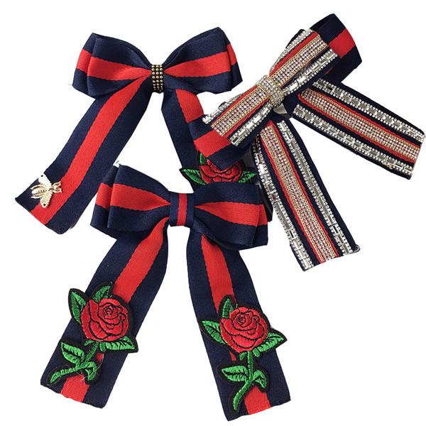 MIARA.L cravatta da donna con cravatta a forma di coreano ricamata con fiocco rosa, cravatta da donna professionale per il commercio all'ingrosso