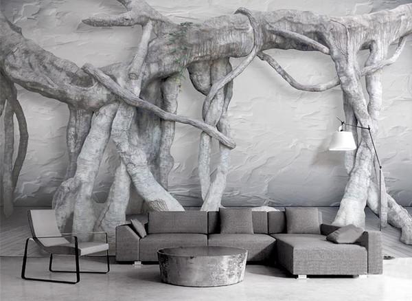 Fondo de pantalla personalizado foto Raíz del bosque virgen sala de estar Fondo de pantalla de televisión TV telón de fondo mejoras para el hogar papel tapiz insonorizado