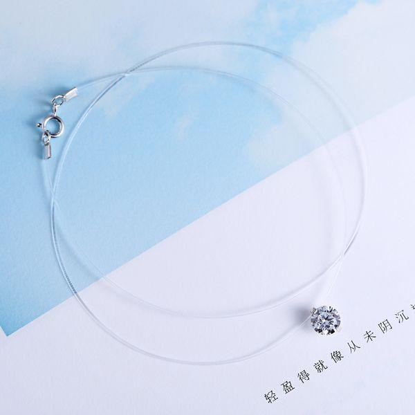 Moda Gargantilla Collar Línea de Pesca Invisible Invisible Collar de Cadena de Clavícula Mujeres Cristal CZ Colgante Collares Joyería