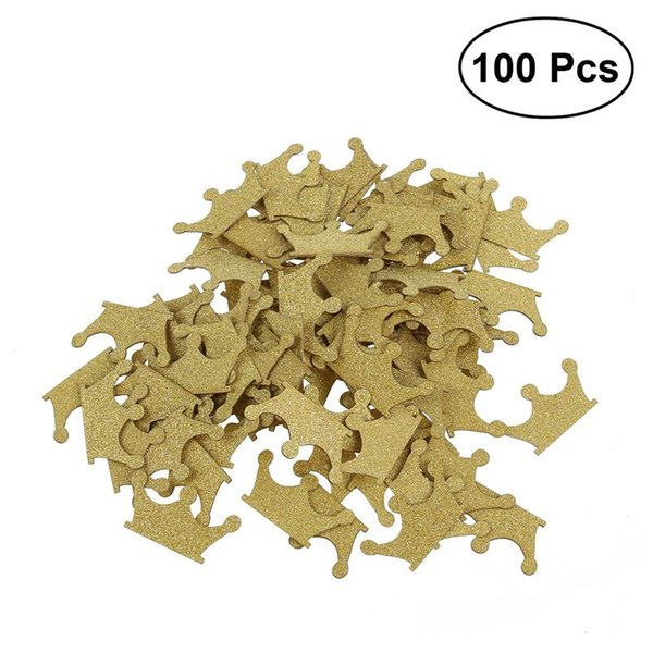100pcs Gold Glitter Crown Confetti DIY Double-sided for Wedding Birthday Party Baby Shower Cupcake Topper Decoration