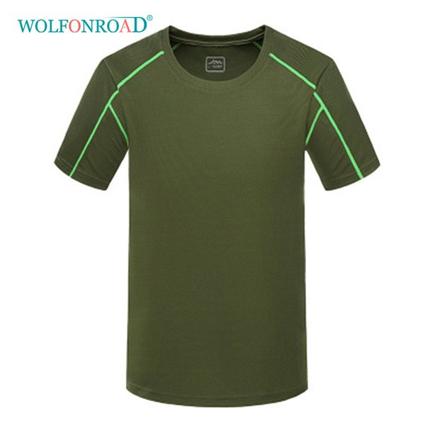 WOLFONROAD Men's Summer Dry Fast Running T-Shirts Outdoor Sport Camping Climbing Tee shirts Fitness Cycling Tops Male L-SSPJ-07