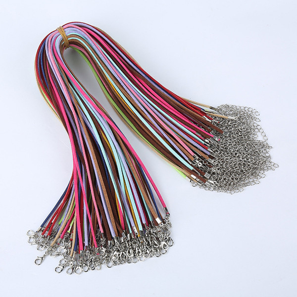 100pcs/lot Suede Cord Mix Colour Korean Velvet Cord Necklace Rope:45cm+Chain: 5cm with Lobster Clasp DIY Jewelry Accessories