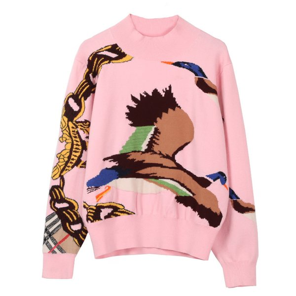 2018 pink flying birds jacquard print Luxious brand same style Long sleeves O neck top pullover slim women's sweater 60