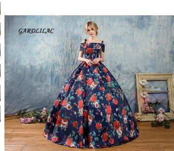 New Printing Quinceanera Dresses 2018 Off the Shoulder Masquerade Ball Gown Long Prom Gown Sweet 16 Dress Vestidos De 15 Anos
