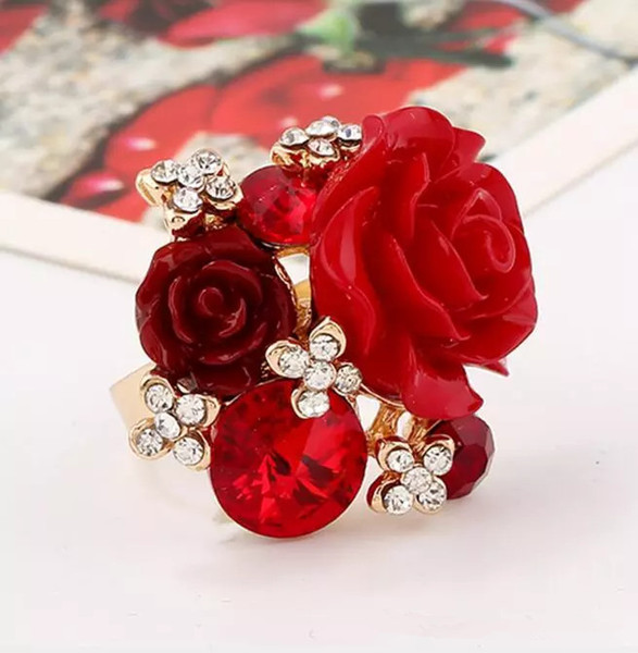 Hot Sale Red Rose Flowers Women Finger Ring Micro Inlay Full Blue Zircon Wedding Accessories Adjustable Rings for Party Jewelry Accessories
