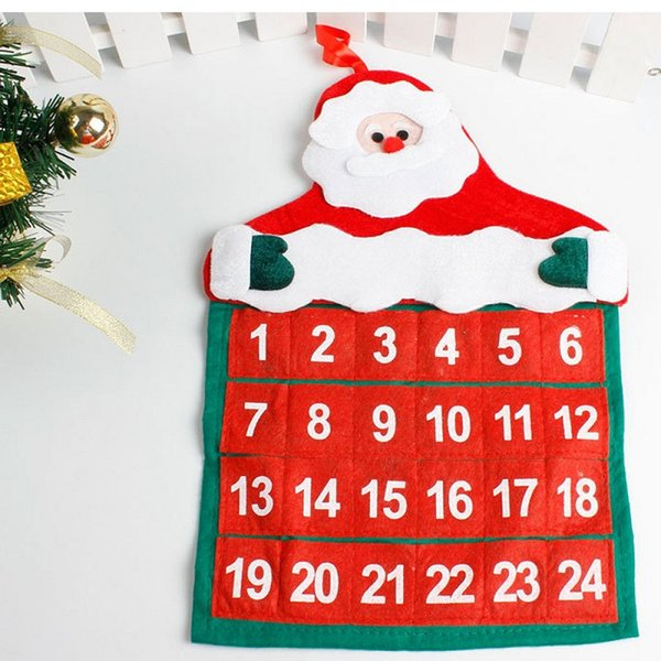 Christmas Advent Calendars Time Countdown Calendar Fun Christmas Santa Claus Fabric Crafts Home Office Decorations Pendant New Year Gifts Santa