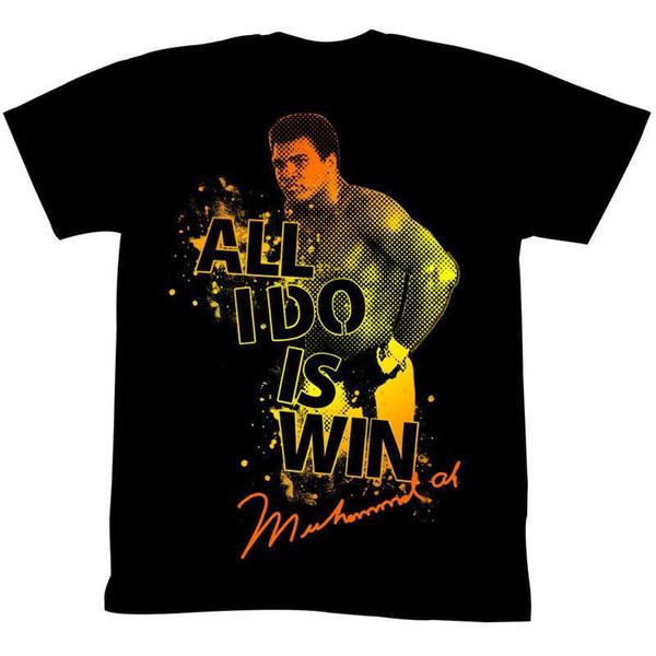MUHAMMAD ALI BOOM BOOM POW SIYAH erkek Yetişkin Kısa Kollu T-Shirt
