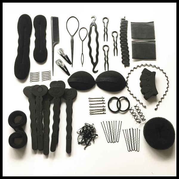 Hair Styling Set Lockenwickler Makers Schaum Schwamm Bendy Twist Curls DIY Styling Flechter Rollen Zubehör Clips Pin Haar Bond Kamm