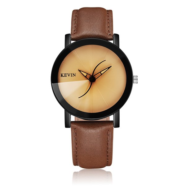 Unique Creative Hands Mens Watches Beige Black Leather Strap Quartz Wristwatch for Men Luxury Casual Fashion Relogio Masculino