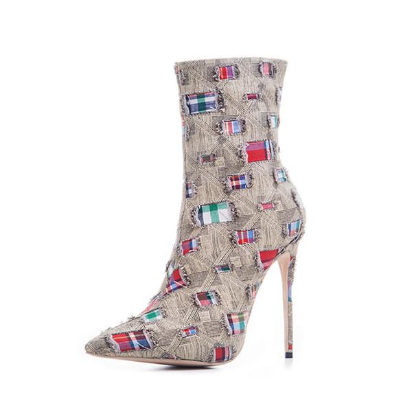 High Quality Women Fashion Stiletto Heel Shoes Fashion Luxury Designer Women Shoes Superstars Boots Sexy Half Boots Women Dress Shoes