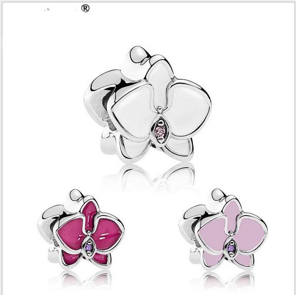 Wholesale 30pcs Enamel Flower Charm Sterling Silver European Charms Bead Big Hole Fit Pandora Bracelets Snake Chain Fashion DIY Jewelry