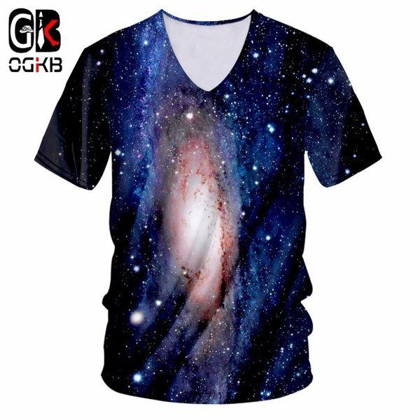 OGKB Men's V Neck Tshirt Print Nebula Star 3d T-shirt Man/Women Workout Fitness Short Sleeve T Shirt Slim Fit Casual Tee Shirts