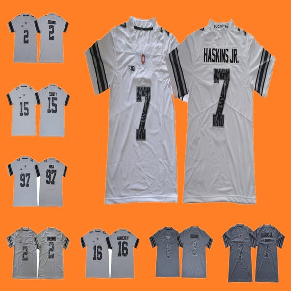 promo code 904c4 c8ad1 2019 Ohio State Buckeyes J.K. Dobbins Dwayne Haskins Jr. J.T. Barrett IV  Nick Bosa White Gray Camo Limited Plus College Football Jerseys From ...