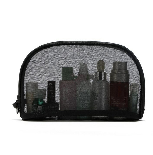 Mesh Handbag Travel Cosmetic Bag tote Bathroom Wash Storage Organizer Portable Makeup Bag Black Gauze Cosmetic Pouch Hanging Bag