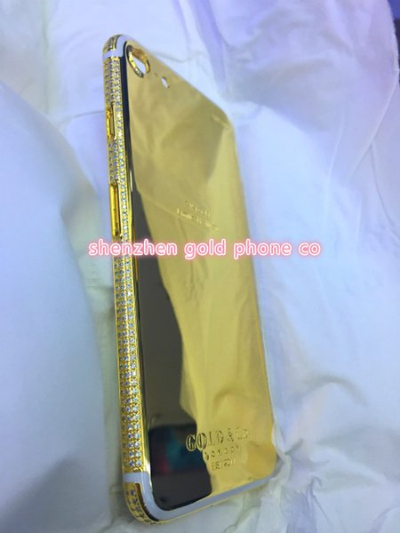 Real Gold Diamond Plating Back Housing Cover Skin Battery Door For iPhone 7+ Luxury christmas gift GOLDCO 24k gold plated diamond