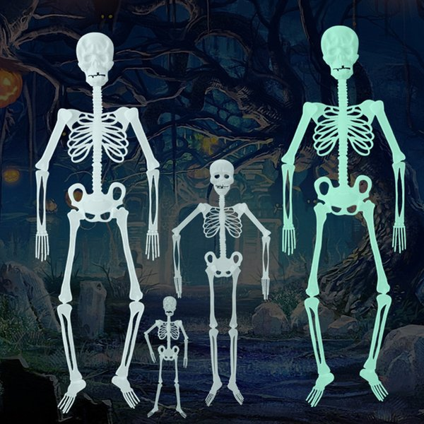 Horror Luminous Movable Skull Skeleton Halloween Props Glow halloween eve Scary Halloween Decoration 5pcs/set