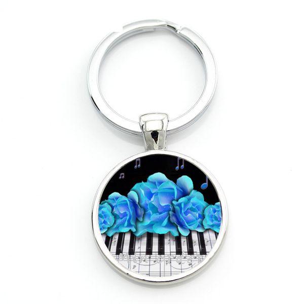 2018 Fashion Music Piano Style Keychain Classic Piano Keyboard Keyring Glass Cabochon Jewelry Handmade Silver Round Key chains