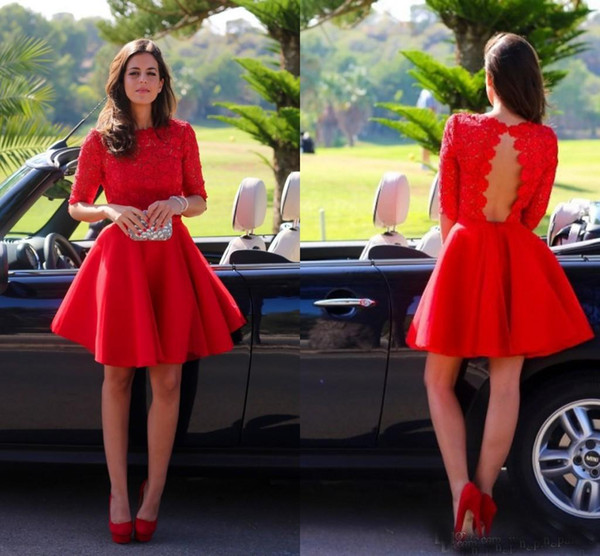 Latest Jewel Neck Mini Short Red Party Dresses A-Line Satin With Half Sleeves Lace Backless Knee Length Prom Evening Homecoming Dresses