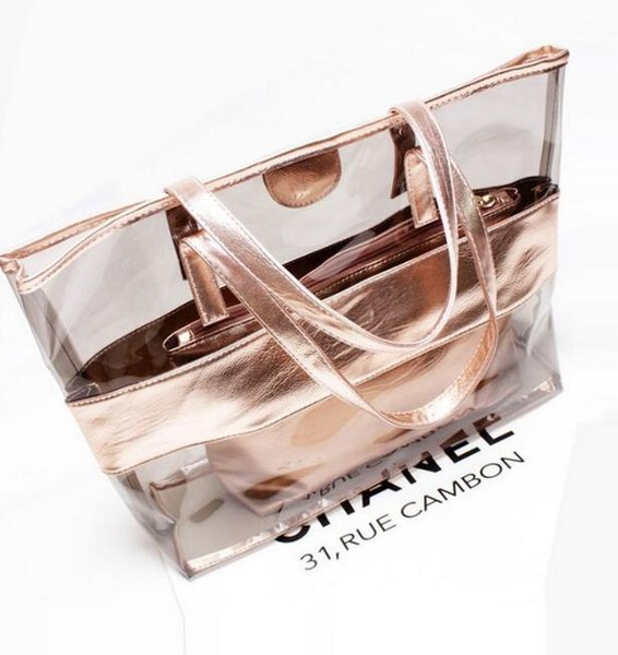 Summer New Style PVC Beach Bags Waterproof Transparent Bag Crystal Neon Jelly Single Shoulder Bags Composite Bag