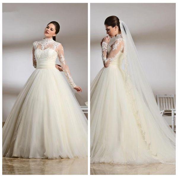 Sheer High Neck Long Sleeves Muslim 2019 Wedding Dresses Lace Top Bridal Gowns Middle East Garden Vestidos De Marriage Garden For Ladies