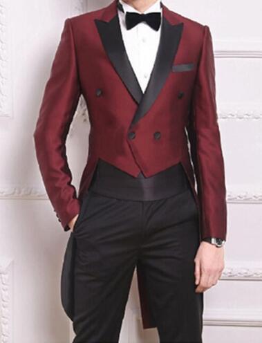 Estilo de la moda Burdeos Tailcoat Novio Trajes de boda de los hombres de boda de los hombres trajes de novio (chaqueta + pantalones + faja + corbata)