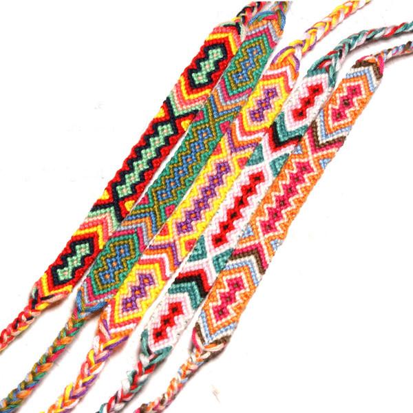 Estilo boho nepalí viento nacional pulseras de verano hecho a mano cuerda tejida algodón colorido tejido amistad pulsera para hombres mujeres h683f