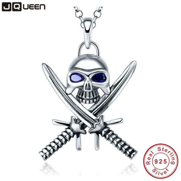 925 Sterling Silver Necklace Double Knife Man Skull Pendant Necklace Punk Style Pirate Jewelry Sapphire Statement NecklaceY1883007